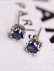 925 sterling silver earpins  Delicate blue zircon earrings female fashion hollow out a crown in gold