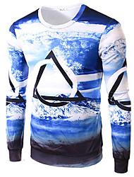 Men's Print Casual / Sport T-Shirt,Cotton Long Sleeve-Multi-color