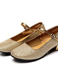 Non Customizable Women's / Kids' Dance Shoes Latin / Salsa Flocking Low Heel Silver / Gold