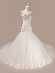 Trumpet/Mermaid Wedding Dress-Court Train V-neck Tulle