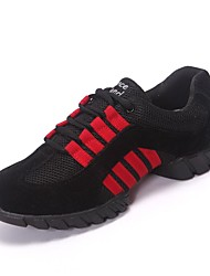 Women's Dance Shoes Dance Sneakers Fabric Flat Heel Black/Red