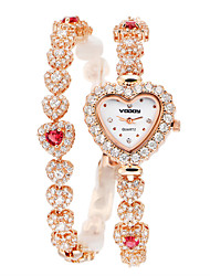 Vodoy®Lady's Watch Rhinestone-encrusted Bracelet FemaleTable Heart Shape Two Laps  Bracelet Table  Adjustable Length