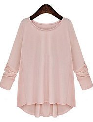Women's Solid Pink / White / Black Blouse , Round Neck Long Sleeve