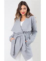 Women's Pan Collar Coats & Jackets , Polyester Casual Long Sleeve Retro