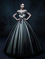 Ball Gown Wedding Dress Wedding Dress in Color Floor-length Off-the-shoulder Tulle with Appliques