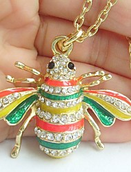 Pretty Honeybee Necklace Pendant With Clear Rhinestone Crystals