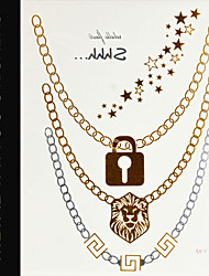 New Golden Jewelry Decal Flash Temporary Tattoo Sex Body Art\Necklace,Lion,Lock,Star Fake Tattooing Wholesale Price