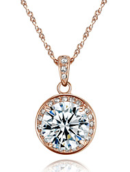 HKTC 18k Rose Gold Plated 3.5ct Cubic Zirconia Stone Round Pendant Necklace Elegant Bridal Jewelry