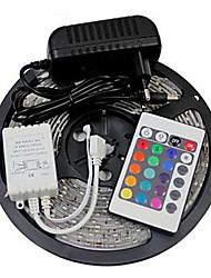 - 5 - 300 - 3528 SMD - RGB - Schneidbar/Fernbedienung/Abblendbar/Verbindbar/Selbstklebend/Farbwechsel - 24 - Leuchtbänder RGB - AC100-240 -