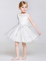A-Line Knee Length Flower Girl Dress - Polyester Lace Tulle Sleeveless Jewel Neck with Ribbon