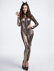 Clubwear Leotards Women's Performance Polyester/Elastic Silk-like Satin Leopard 2 Pieces Leopard Print