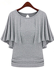 LYOU Women's Solid Multi-color Tops & Blouses , Vintage/Sexy/Bodycon/Party/Work Cape Short Sleeve