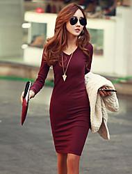 Women's Dresses , Knitwear/Viscose Sexy/Casual Long Sleeve K.M.S
