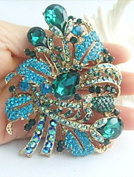 Gorgeous 3.54 Inch Gold-tone Turquoise Rhinestone Crystal Flower Brooch Art Deco