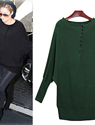 Women's Solid Color Black / Green T-Shirts , Bodycon Round Long Sleeve
