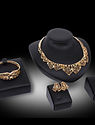 Lucky Doll Vintage 18K Gold Plated Zirconia Cut Out  Geometric Tassel Necklace & Earrings & Bracelet & Ring Jewelry Sets