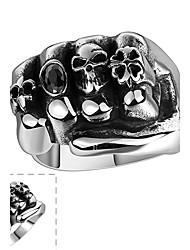 Anéis Caveira Halloween Diário Casual Esportes Jóias Aço Inoxidável Masculino Anel 1peça,8 9 11 Prateado
