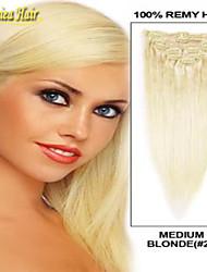 Clip indio caliente en las extensiones de cabello humano real 100% ins pinza de pelo 14-34inch 7pcs establecen las extensiones de cabello