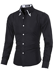 Brand Fashion Men's casual long-sleeved shirt Slim solid color shirt Cotton / Polyester Casual / Sport Pure