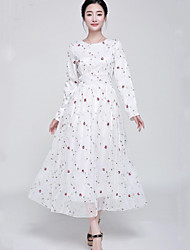 Women's Embroidery Dress , Lace/Mesh Maxi Long Sleeve
