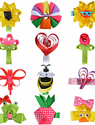 12 Pcs Hair Bows Animal Rose Heart Sunflower Grossgrain Ribbon Flower Hair Clips Hairbows Clips  Party Favors AC010