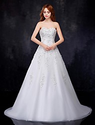 A-line Wedding Dress Court Train Sweetheart Organza / Satin with