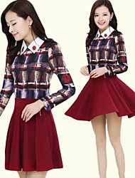 Women's Tailored Collar Dresses , Cotton/Polyester Casual Long Sleeve Luoluo