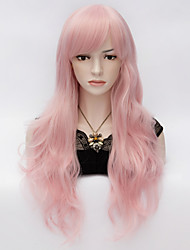 European Style Fashion New Sexy Ladies Long Hair Spiral Curly Hair Cosplay Pink Wig
