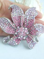 Wedding Gorgeous 3.74 Inch Silver-tone Pink Rhinestone Crystal Orchid Flower Brooch Pendant