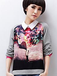 Damen Bluse  -  Blume Baumwolle Langarm Hemdkragen
