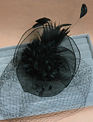 Women's Feather/Fabric/Net Flower Birdcage Veil with Wedding Flower Headpiece Special Occasion Flowers