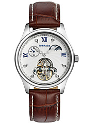 BINKADA Men's Roman Numerals Dial Brown Leather Band Automatic Mechanical  Wrist Watch(Assorted Colors)