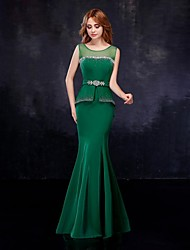Mermaid / Trumpet Illusion Neckline Floor Length Chiffon Tulle Formal Evening Dress with Crystal Detailing Sash / Ribbon by JUEXIU Bridal
