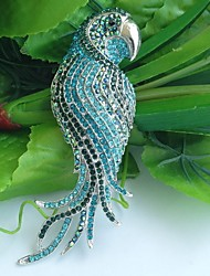 4.53 Inch Silver-tone Turquoise Green Rhinestone Crystal Bird Parrot Brooch Pendant Art Decorations
