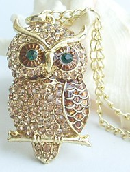 Charming Owl Necklace Pendant With Topaz Rhinestone Crystals