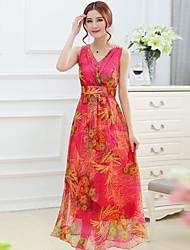Women's V Neck  , Silk Maxi Sleeveless,Dress