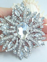 Wedding 3.94 Inch Silver-tone Clear Rhinestone Crystal Flower Brooch Art Deco Bridal Bouquet