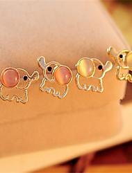 2015 Korean Elephant Pink White Opal Earrings Cute Platinum Plated/Gemstone & Crystal Stud Earrings