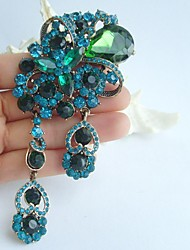 4.92 Inch Gold-tone Turquoise Green Rhinestone Crystal Flower Brooch Pendant Art Decorations
