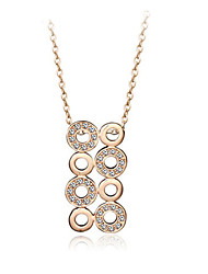 HKTC 18k Rose Gold Plated Crystal Round Connected Circle Necklaces & Pendants for Women