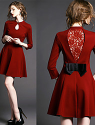 Women's Dresses , Lace/Polyester/Roman Knit Sexy/Lace/Party Long Sleeve K.M.S
