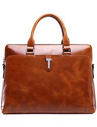 bolsa de hombre de cuero de cera de aceite de la vendimia genuina de cuero marrón maletines de diseño únicos bolso del negocio del