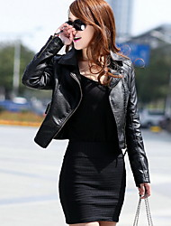 Women's Motorcycle PU Leather Jacket Fashion Trench Coat Overcoat