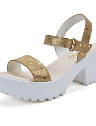 Women's Shoes Leather Chunky Heel Comfort Sandals Outdoor/Casual Silver/Gold