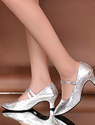 Women's Dance Shoes Heels LeatherCuban Heel Gold/Silver