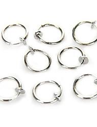 8 Clip On Fake Piercing Nose Lip Hoop Rings Earrings