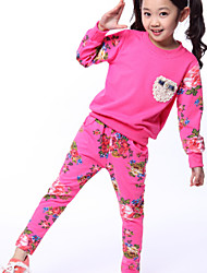 Girl's Floral Fashion Trend Piece Sports Clothing Set , Winter/Fall