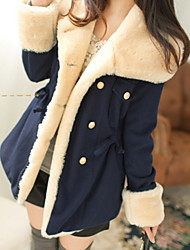 Women's Solid Blue/Red/Brown Coat , Casual Long Sleeve Wool Button