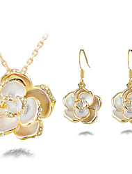 Lofeis Women's Korean-style High Quality Simple Cute Mosaic Zircon Silver-plated Earrings Necklace Set