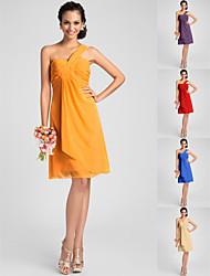 Knee-length Chiffon Bridesmaid Dress - Orange / Royal Blue / Ruby / Champagne / Grape Plus Sizes / Petite A-line / PrincessOne Shoulder /